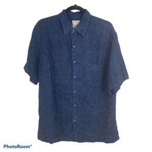 Tasso Elba Blue Button Up Collared Shirt XL